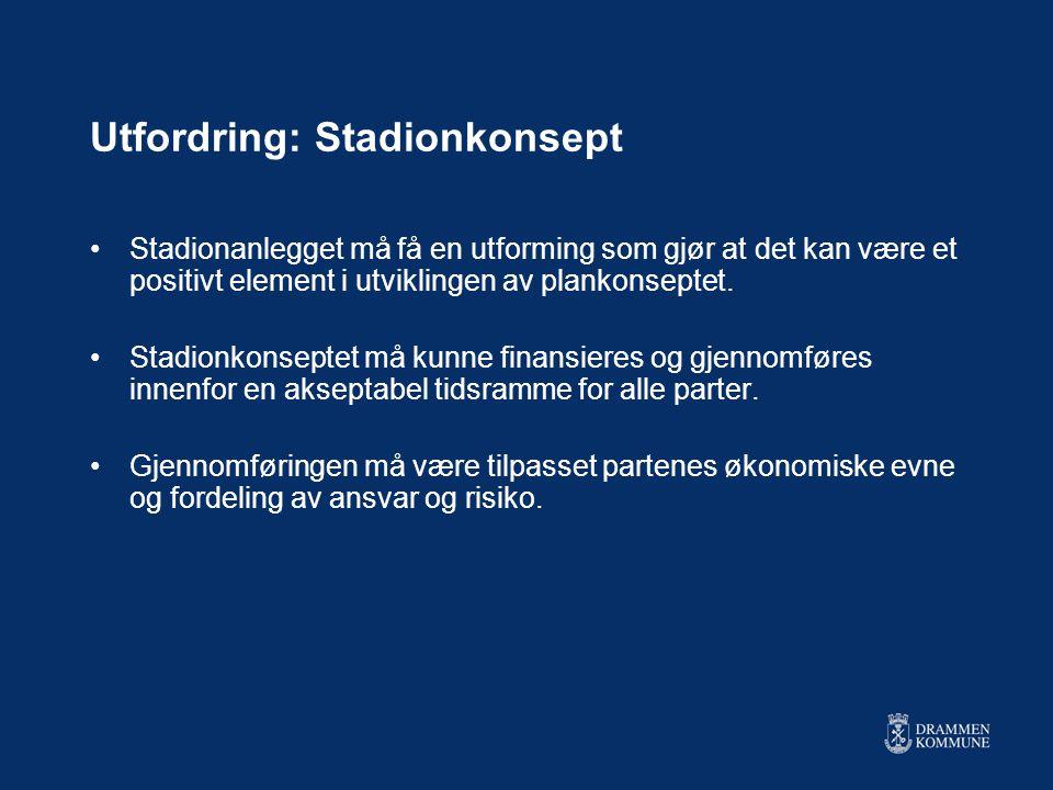 Utfordring: Stadionkonsept •Stadionanlegget må få en utforming som gjør at det kan være et positivt element i utviklingen av plankonseptet.