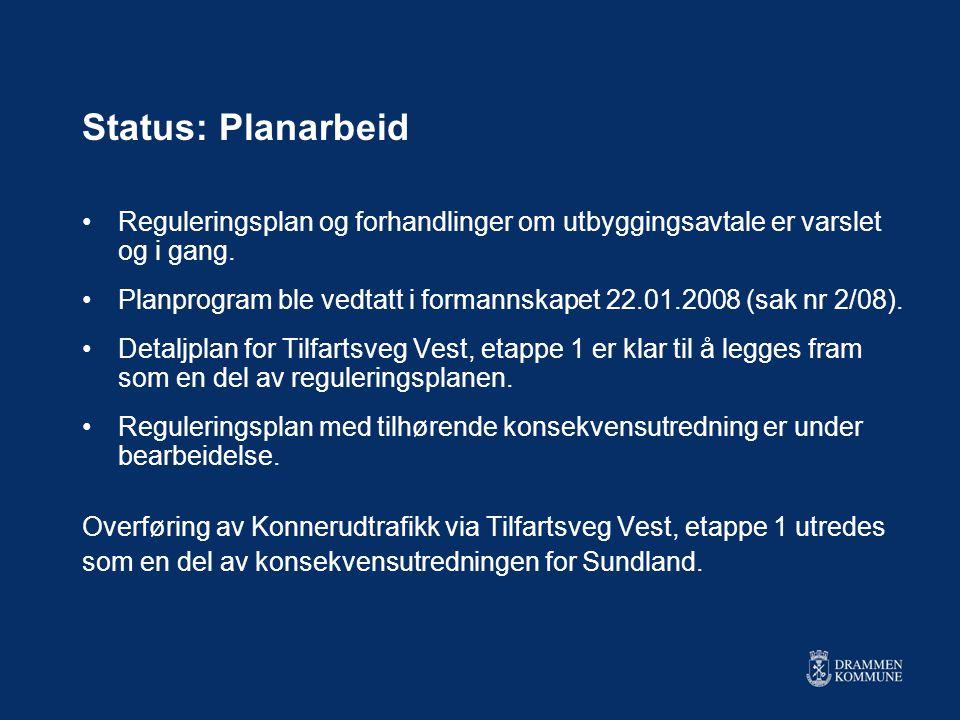 Status: Planarbeid •Reguleringsplan og forhandlinger om utbyggingsavtale er varslet og i gang.