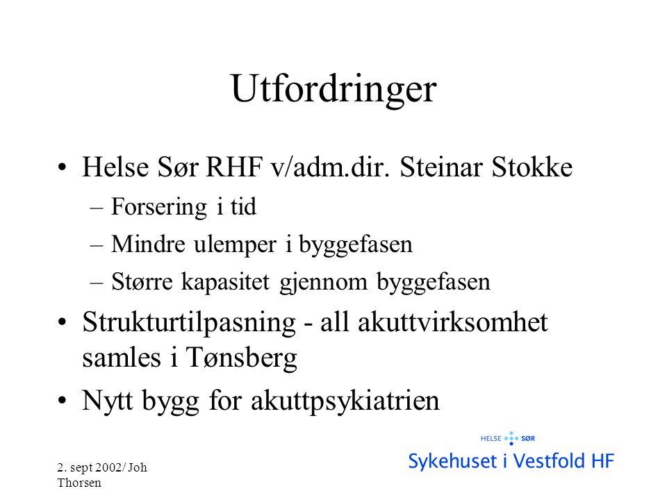 2. sept 2002/ Joh Thorsen Utfordringer •Helse Sør RHF v/adm.dir.