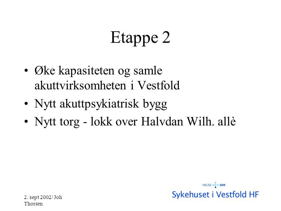 Etappe 2 •Øke kapasiteten og samle akuttvirksomheten i Vestfold •Nytt akuttpsykiatrisk bygg •Nytt torg - lokk over Halvdan Wilh.