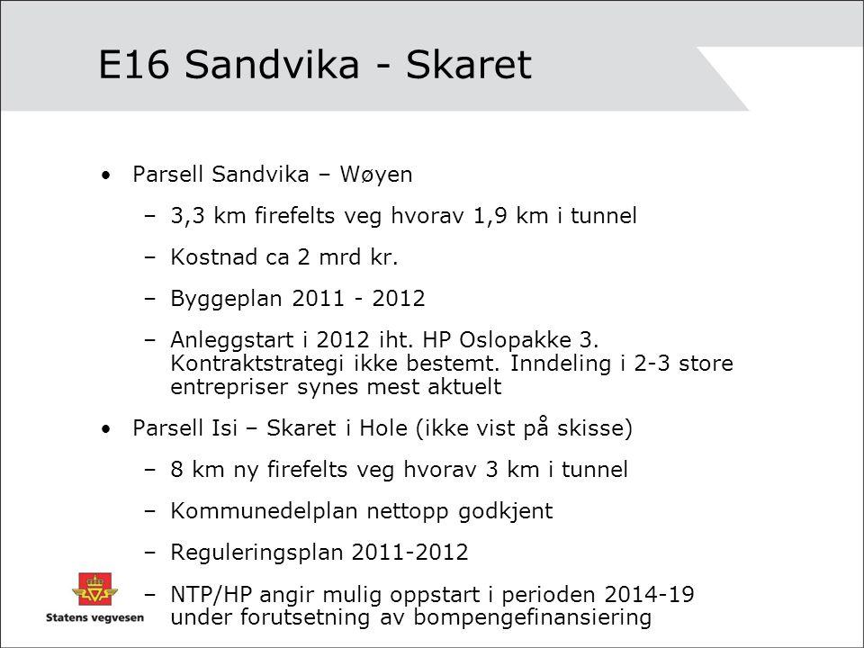 E16 Sandvika - Skaret •Parsell Sandvika – Wøyen –3,3 km firefelts veg hvorav 1,9 km i tunnel –Kostnad ca 2 mrd kr.