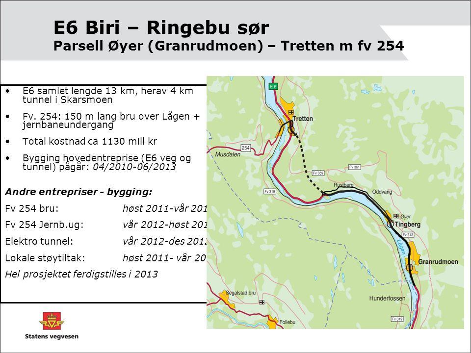 E6 Biri – Ringebu sør Parsell Øyer (Granrudmoen) – Tretten m fv 254 •E6 samlet lengde 13 km, herav 4 km tunnel i Skarsmoen •Fv.