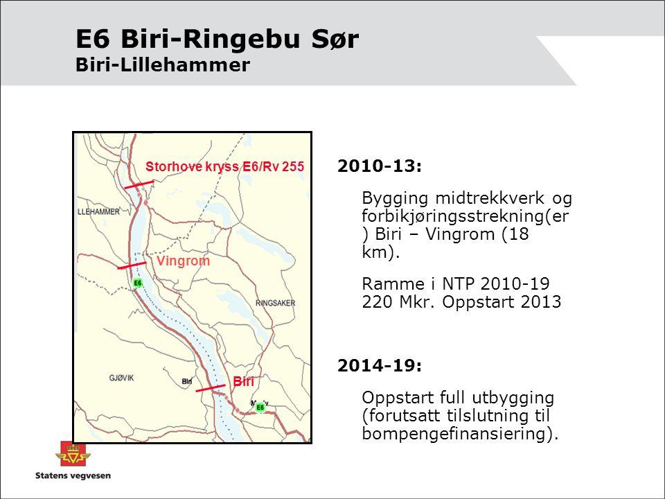 E6 Biri-Ringebu Sør Biri-Lillehammer 2010-13: Bygging midtrekkverk og forbikjøringsstrekning(er ) Biri – Vingrom (18 km).