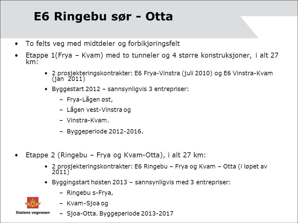 •To felts veg med midtdeler og forbikjøringsfelt •Etappe 1(Frya – Kvam) med to tunneler og 4 større konstruksjoner, i alt 27 km: •2 prosjekteringskontrakter: E6 Frya-Vinstra (juli 2010) og E6 Vinstra-Kvam (jan 2011) •Byggestart 2012 – sannsynligvis 3 entrepriser: –Frya-Lågen øst, –Lågen vest-Vinstra og –Vinstra-Kvam.