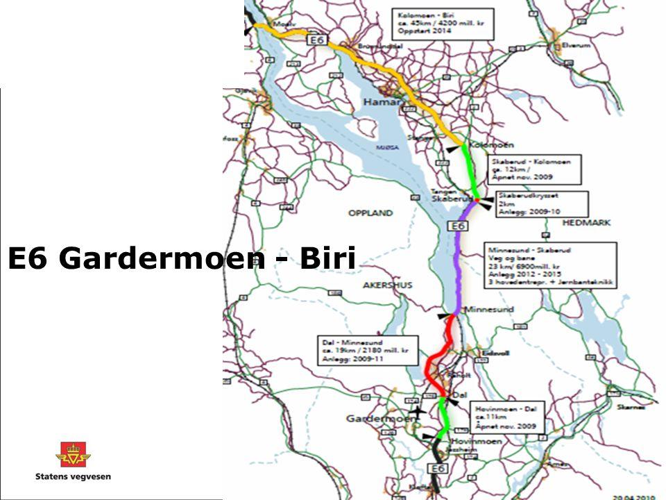 Fellesprosjektet E6 - Dovrebanen Entreprise FP 1 Langset-Brøhaug, veg og jernbane • 6,2 km firefelts E6 inkludert Korslundtunnelen på 630 m (2 løp T10,5 profil) • 5,1 km grunnarbeider for dobbeltspor på Dovrebanen inkludert Molykkjatunnelen på 610 m.