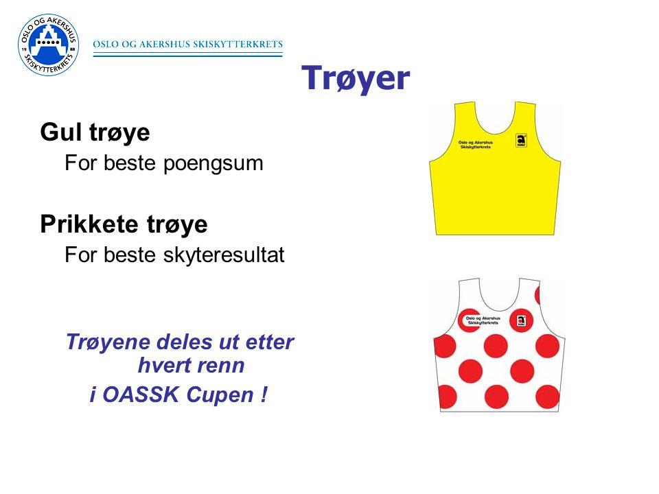 Trøyer Gul trøye For beste poengsum Prikkete trøye For beste skyteresultat Trøyene deles ut etter hvert renn i OASSK Cupen !