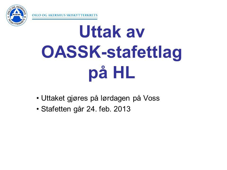 Uttak av OASSK-stafettlag på HL • Uttaket gjøres på lørdagen på Voss • Stafetten går 24. feb. 2013