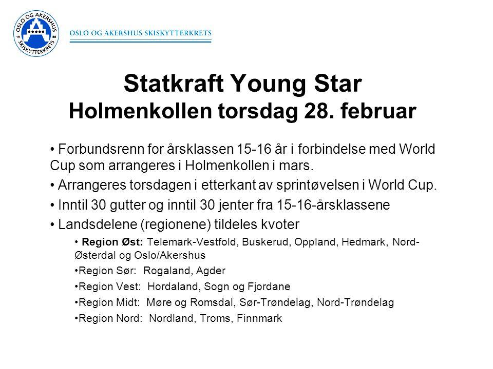 Statkraft Young Star Holmenkollen torsdag 28. februar • Forbundsrenn for årsklassen 15-16 år i forbindelse med World Cup som arrangeres i Holmenkollen