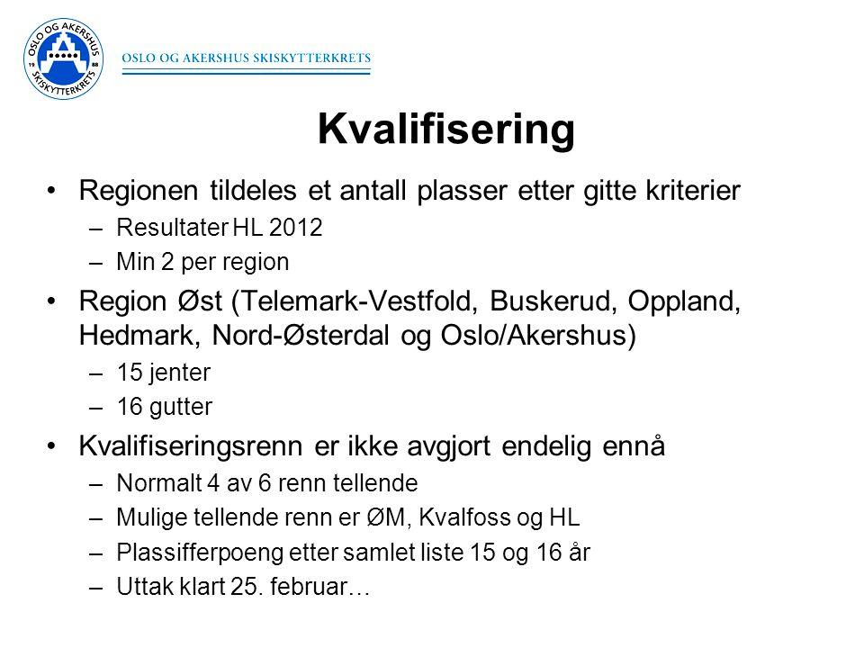 Kvalifisering •Regionen tildeles et antall plasser etter gitte kriterier –Resultater HL 2012 –Min 2 per region •Region Øst (Telemark-Vestfold, Buskeru