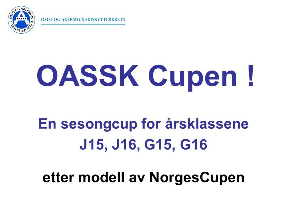 Grunnlag for stafettuttak •Vi bruker resultatene fra OASSK Cupen med noen justeringer: •Totalt 4 renn teller.