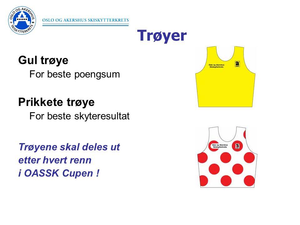 Trøyer Gul trøye For beste poengsum Prikkete trøye For beste skyteresultat Trøyene skal deles ut etter hvert renn i OASSK Cupen !