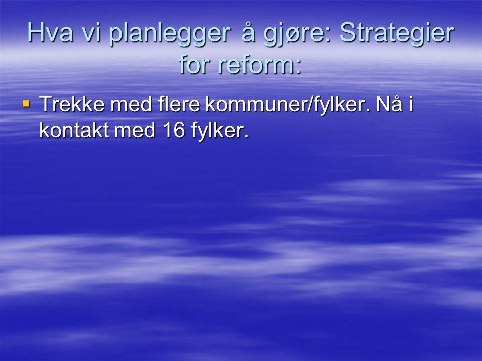 Hva vi planlegger å gjøre: Strategier for reform:  Trekke med flere kommuner/fylker.