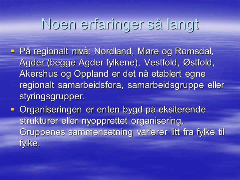Noen erfaringer så langt  På regionalt nivå: Nordland, Møre og Romsdal, Agder (begge Agder fylkene), Vestfold, Østfold, Akershus og Oppland er det nå etablert egne regionalt samarbeidsfora, samarbeidsgruppe eller styringsgrupper.