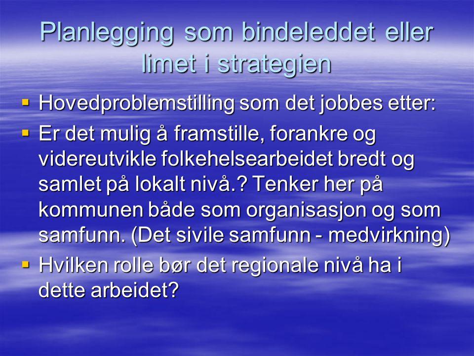 Planlegging som bindeleddet eller limet i strategien  Hovedproblemstilling som det jobbes etter:  Er det mulig å framstille, forankre og videreutvikle folkehelsearbeidet bredt og samlet på lokalt nivå..