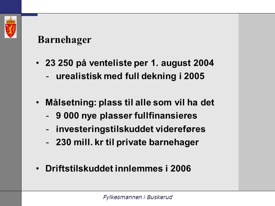Fylkesmannen i Buskerud Barnehager •23 250 på venteliste per 1.