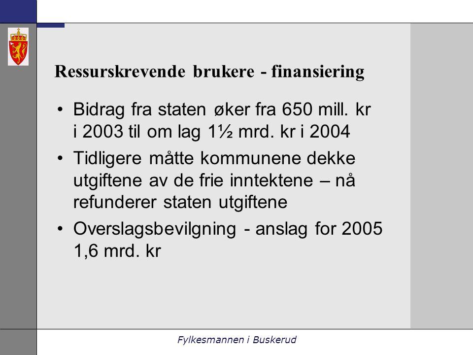 Fylkesmannen i Buskerud Ressurskrevende brukere - finansiering •Bidrag fra staten øker fra 650 mill.