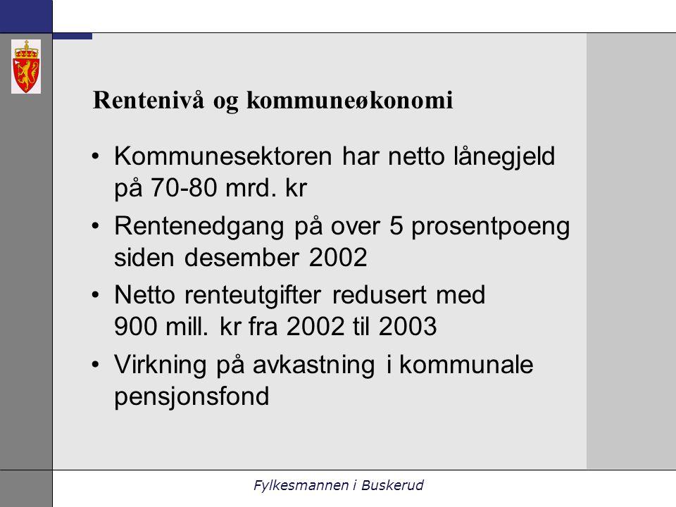 Fylkesmannen i Buskerud Rentenivå og kommuneøkonomi •Kommunesektoren har netto lånegjeld på 70-80 mrd.