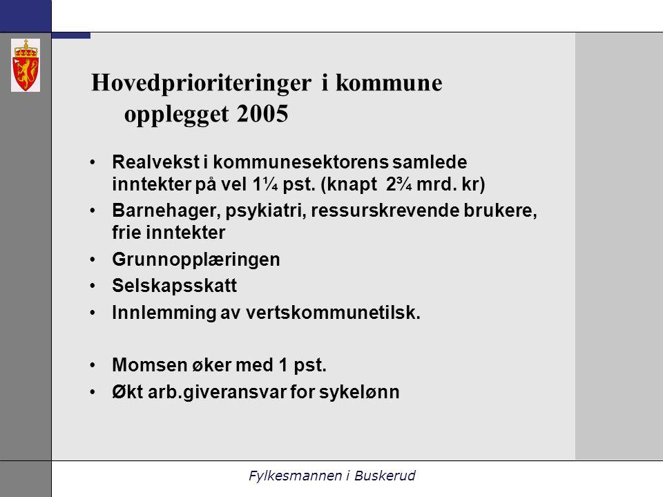 Fylkesmannen i Buskerud Hovedprioriteringer i kommune opplegget 2005 •Realvekst i kommunesektorens samlede inntekter på vel 1¼ pst.
