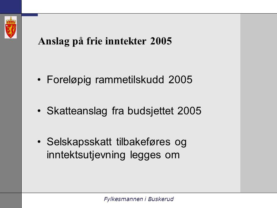 Fylkesmannen i Buskerud Anslag på frie inntekter 2005 •Foreløpig rammetilskudd 2005 •Skatteanslag fra budsjettet 2005 •Selskapsskatt tilbakeføres og inntektsutjevning legges om