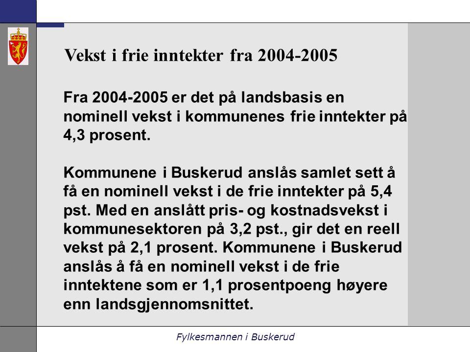 Fylkesmannen i Buskerud Fra 2004-2005 er det på landsbasis en nominell vekst i kommunenes frie inntekter på 4,3 prosent.