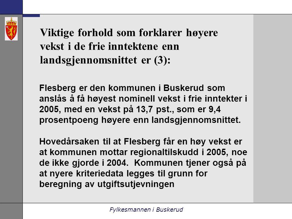 Fylkesmannen i Buskerud Viktige forhold som forklarer høyere vekst i de frie inntektene enn landsgjennomsnittet er (3): Flesberg er den kommunen i Buskerud som anslås å få høyest nominell vekst i frie inntekter i 2005, med en vekst på 13,7 pst., som er 9,4 prosentpoeng høyere enn landsgjennomsnittet.
