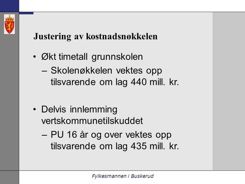 Fylkesmannen i Buskerud Justering av kostnadsnøkkelen •Økt timetall grunnskolen –Skolenøkkelen vektes opp tilsvarende om lag 440 mill.