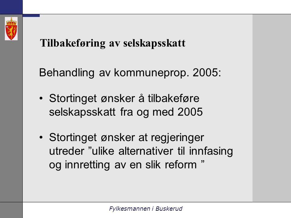 Fylkesmannen i Buskerud Tilbakeføring av selskapsskatt Behandling av kommuneprop.
