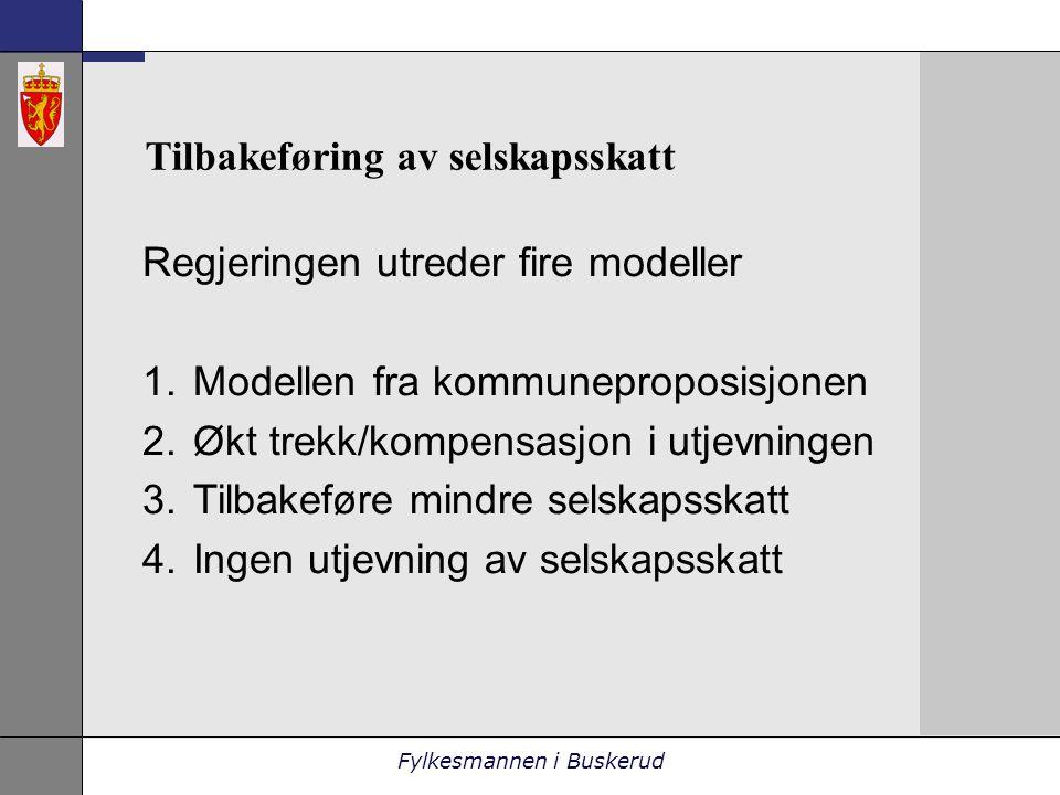 Fylkesmannen i Buskerud Tilbakeføring av selskapsskatt Regjeringen utreder fire modeller 1.