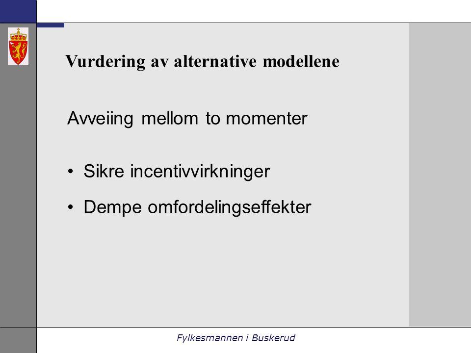 Fylkesmannen i Buskerud Vurdering av alternative modellene Avveiing mellom to momenter •Sikre incentivvirkninger •Dempe omfordelingseffekter