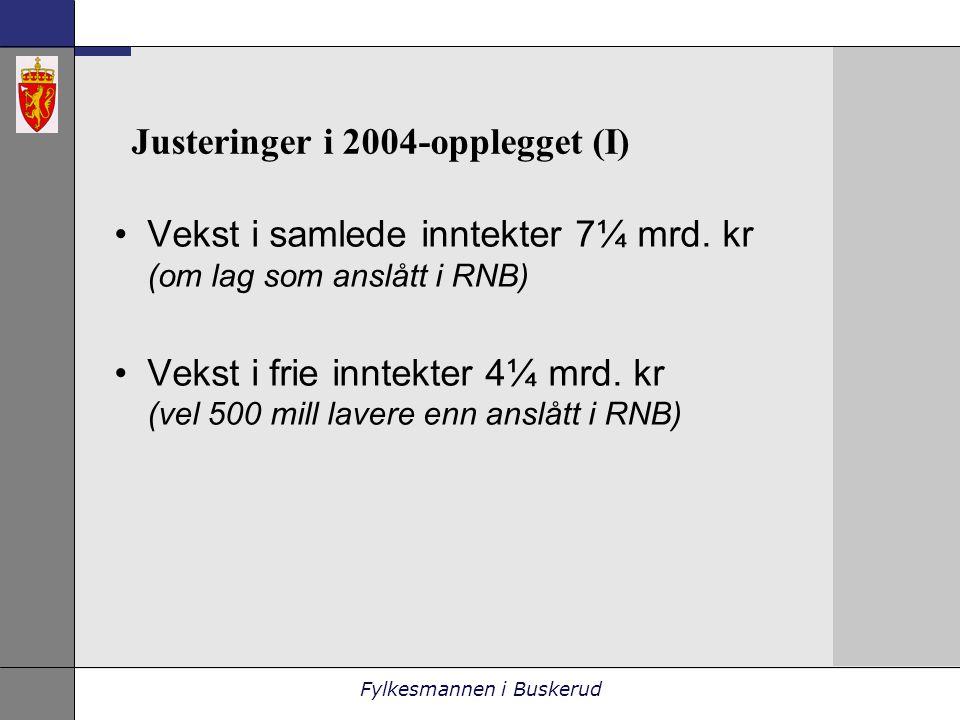 Fylkesmannen i Buskerud Justeringer i 2004-opplegget (I) •Vekst i samlede inntekter 7¼ mrd.