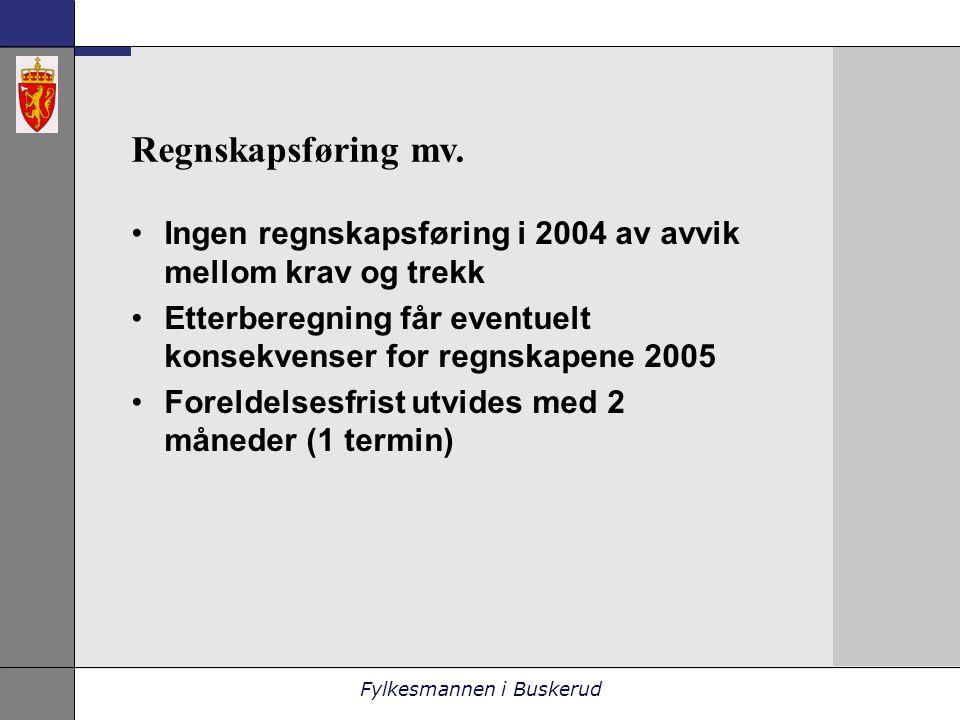 Fylkesmannen i Buskerud Regnskapsføring mv.