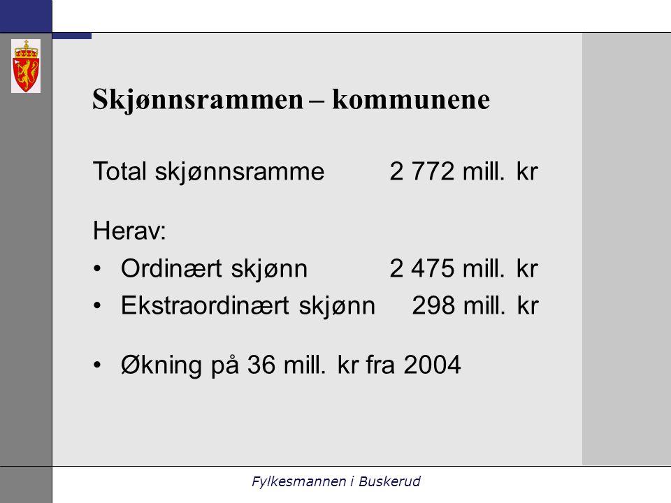 Fylkesmannen i Buskerud Skjønnsrammen – kommunene Total skjønnsramme 2 772 mill.