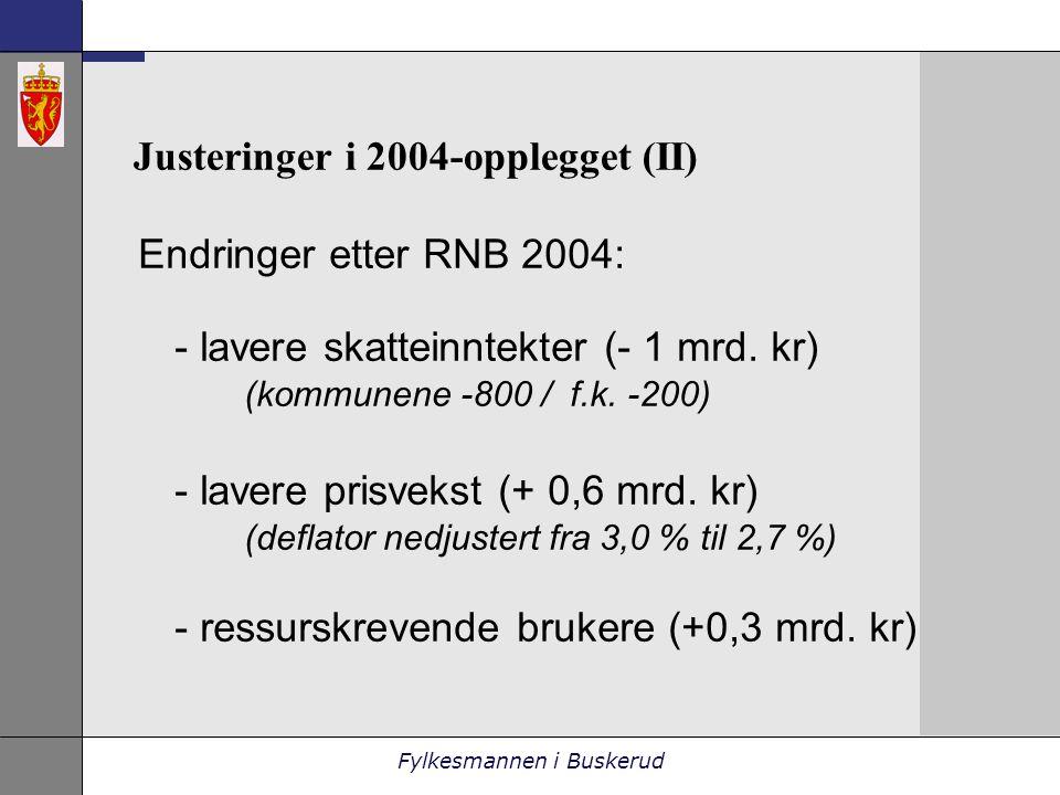 Fylkesmannen i Buskerud Justeringer i 2004-opplegget (II) Endringer etter RNB 2004: - lavere skatteinntekter (- 1 mrd.