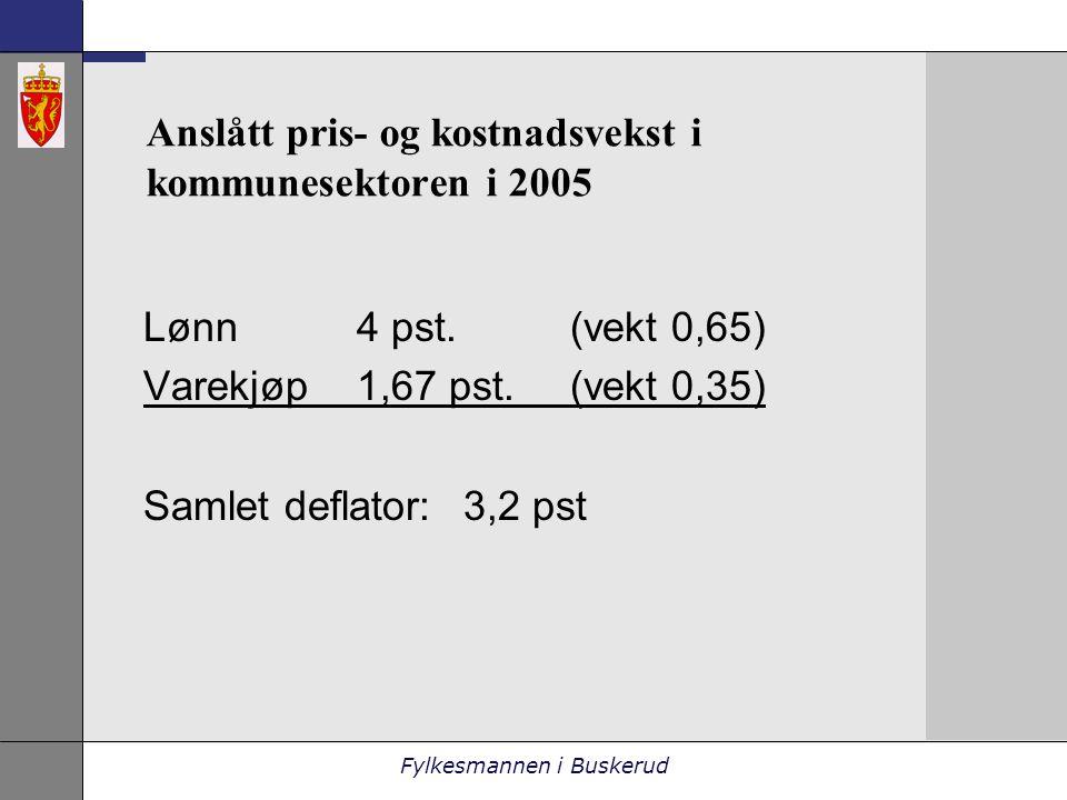 Fylkesmannen i Buskerud Anslått pris- og kostnadsvekst i kommunesektoren i 2005 Lønn4 pst.