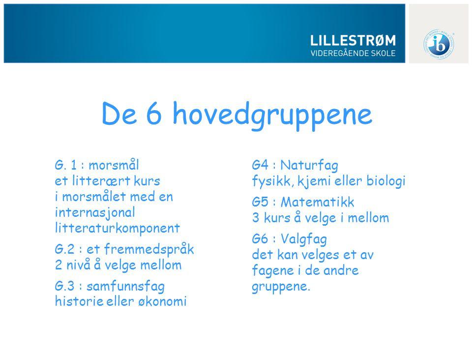 De 6 hovedgruppene G. 1 : morsmål et litterært kurs i morsmålet med en internasjonal litteraturkomponent G.2 : et fremmedspråk 2 nivå å velge mellom G