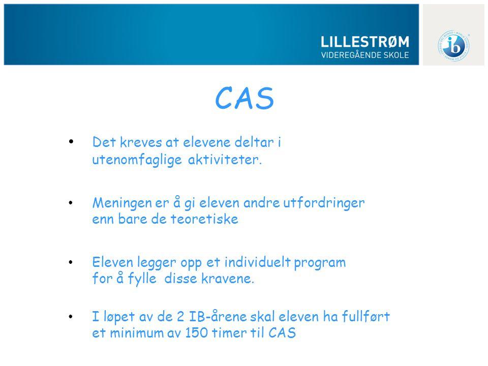 CAS • Det kreves at elevene deltar i utenomfaglige aktiviteter. • Meningen er å gi eleven andre utfordringer enn bare de teoretiske • Eleven legger op