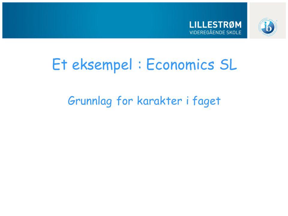Et eksempel : Economics SL Grunnlag for karakter i faget