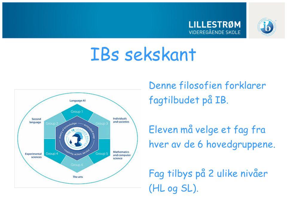 IBs sekskant Denne filosofien forklarer fagtilbudet på IB. Eleven må velge et fag fra hver av de 6 hovedgruppene. Fag tilbys på 2 ulike nivåer (HL og