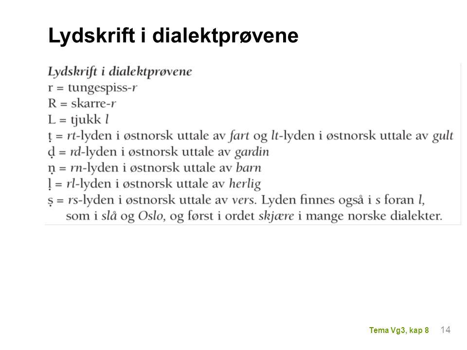 Lydskrift i dialektprøvene 14 Tema Vg3, kap 8