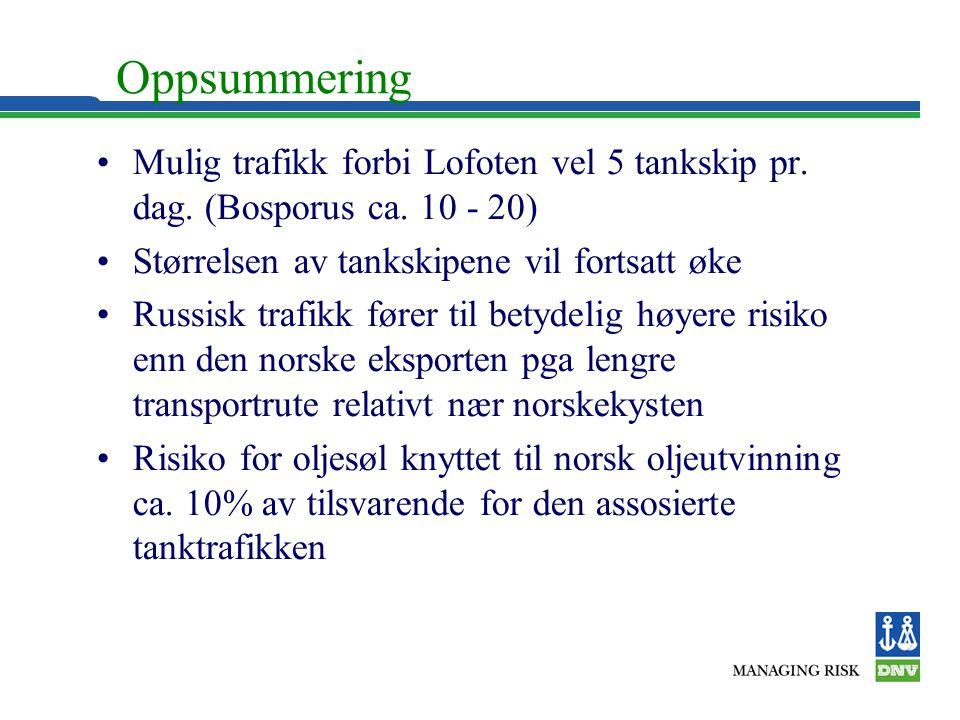 Oppsummering •Mulig trafikk forbi Lofoten vel 5 tankskip pr. dag. (Bosporus ca. 10 - 20) •Størrelsen av tankskipene vil fortsatt øke •Russisk trafikk