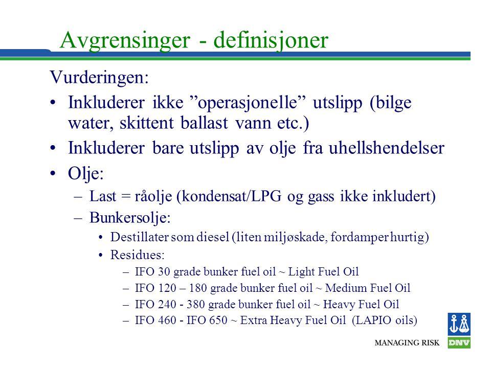 """Avgrensinger - definisjoner Vurderingen: •Inkluderer ikke """"operasjonelle"""" utslipp (bilge water, skittent ballast vann etc.) •Inkluderer bare utslipp a"""