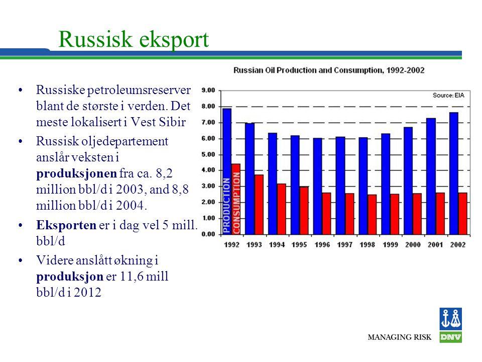 Russisk eksport •Russiske petroleumsreserver blant de største i verden. Det meste lokalisert i Vest Sibir •Russisk oljedepartement anslår veksten i pr
