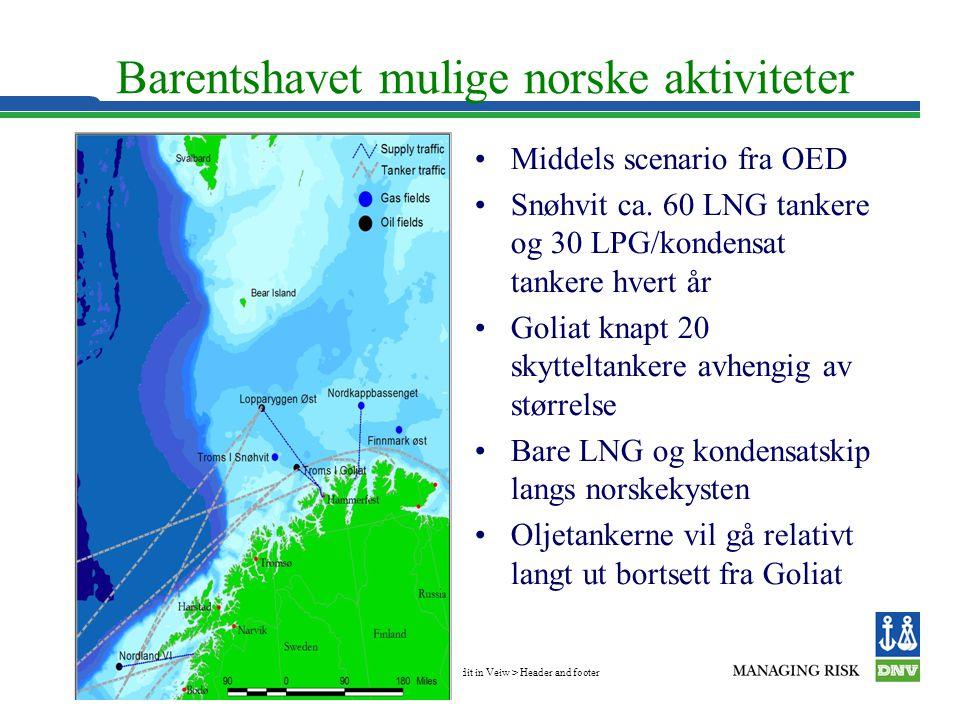 Edit in Veiw > Header and footer Slide 9 Barentshavet mulige norske aktiviteter •Middels scenario fra OED •Snøhvit ca. 60 LNG tankere og 30 LPG/konden
