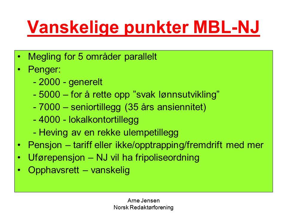 """Arne Jensen Norsk Redaktørforening Vanskelige punkter MBL-NJ •Megling for 5 områder parallelt •Penger: - 2000 - generelt - 5000 – for å rette opp """"sva"""
