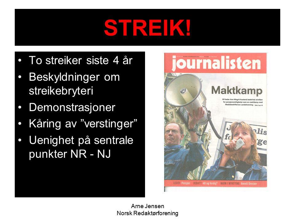 """Arne Jensen Norsk Redaktørforening STREIK! •To streiker siste 4 år •Beskyldninger om streikebryteri •Demonstrasjoner •Kåring av """"verstinger"""" •Uenighet"""
