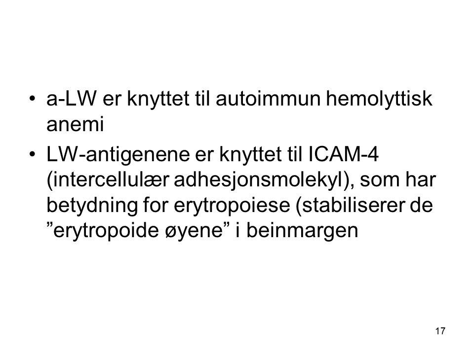 17 •a-LW er knyttet til autoimmun hemolyttisk anemi •LW-antigenene er knyttet til ICAM-4 (intercellulær adhesjonsmolekyl), som har betydning for erytropoiese (stabiliserer de erytropoide øyene i beinmargen