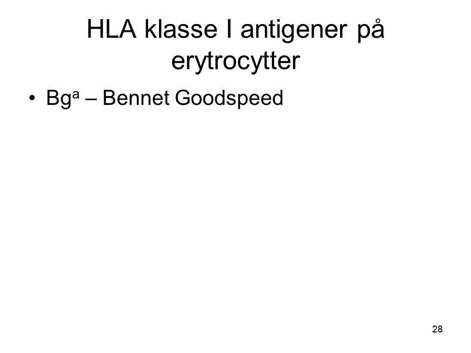 28 HLA klasse I antigener på erytrocytter •Bg a – Bennet Goodspeed