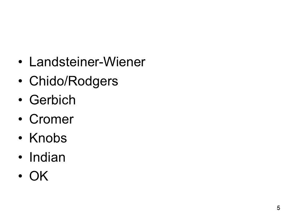 5 •Landsteiner-Wiener •Chido/Rodgers •Gerbich •Cromer •Knobs •Indian •OK