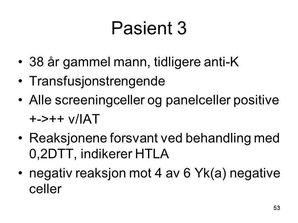 53 Pasient 3 •38 år gammel mann, tidligere anti-K •Transfusjonstrengende •Alle screeningceller og panelceller positive +->++ v/IAT •Reaksjonene forsvant ved behandling med 0,2DTT, indikerer HTLA •negativ reaksjon mot 4 av 6 Yk(a) negative celler
