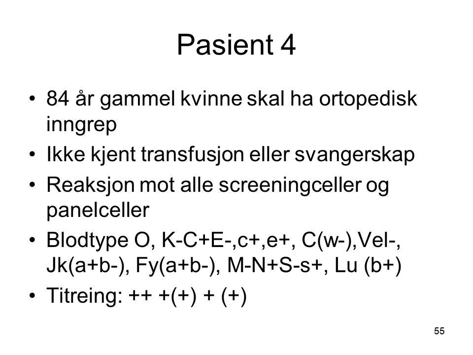 55 Pasient 4 •84 år gammel kvinne skal ha ortopedisk inngrep •Ikke kjent transfusjon eller svangerskap •Reaksjon mot alle screeningceller og panelceller •Blodtype O, K-C+E-,c+,e+, C(w-),Vel-, Jk(a+b-), Fy(a+b-), M-N+S-s+, Lu (b+) •Titreing: ++ +(+) + (+)